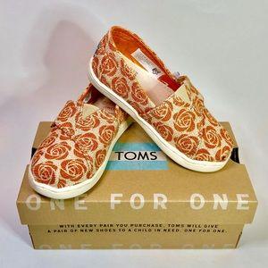 TOMS Classic Orange Rose Toddler Girls Size 8